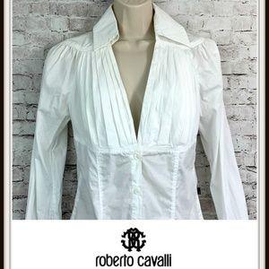 Roberto Cavalli Long Sleeve Pleated Shirt Top
